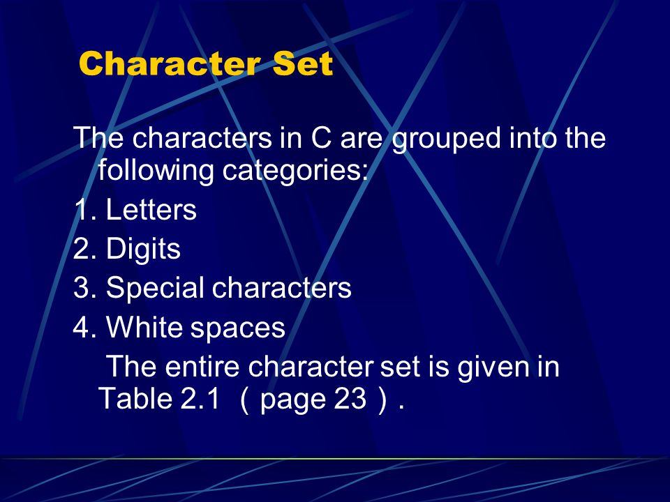 Character Set The characters in C are grouped into the following categories: 1. Letters. 2. Digits.