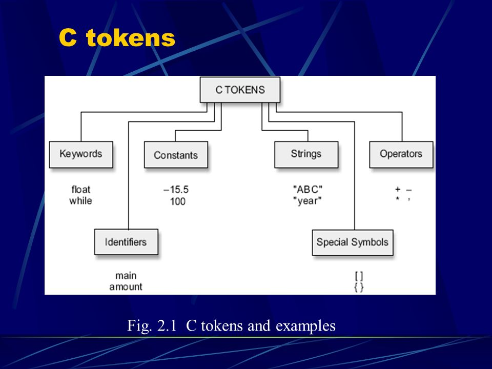 C tokens Fig. 2.1 C tokens and examples