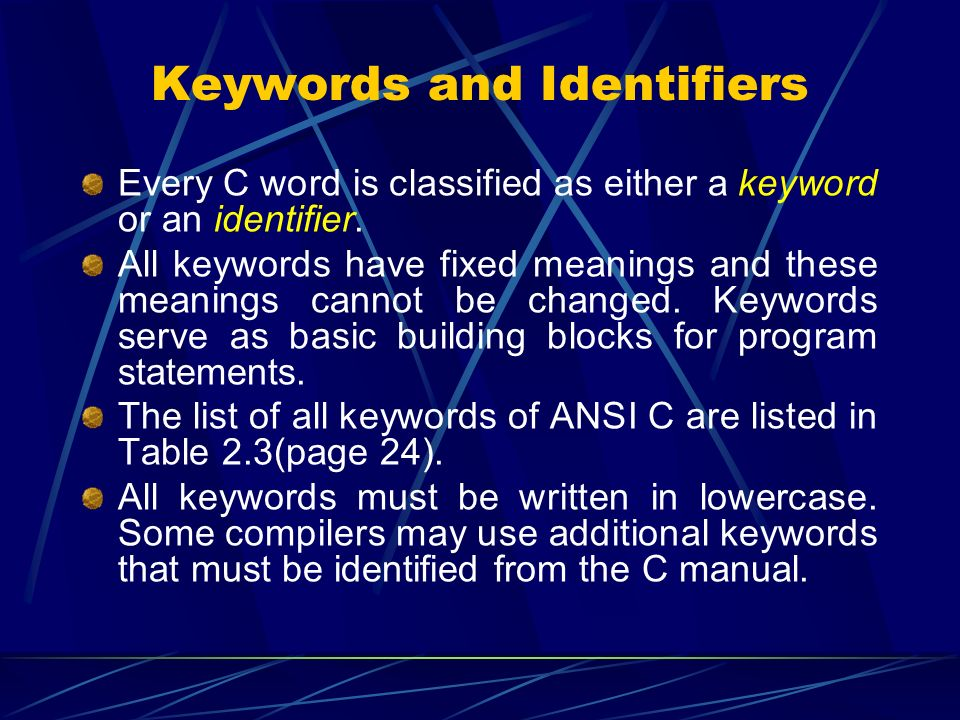 Keywords and Identifiers