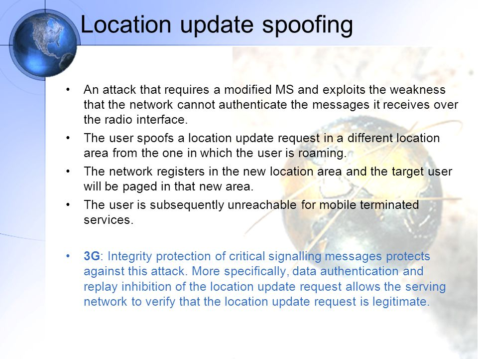 Location update spoofing