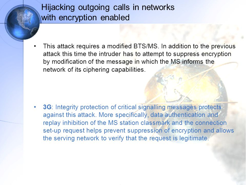 Hijacking outgoing calls in networks with encryption enabled