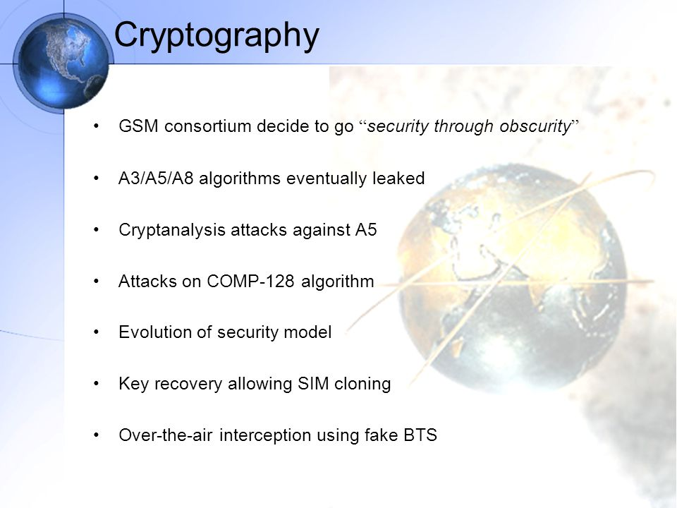 Cryptography GSM consortium decide to go security through obscurity