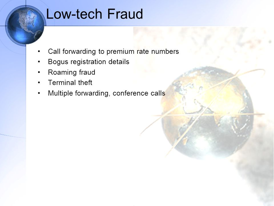 Low-tech Fraud Call forwarding to premium rate numbers