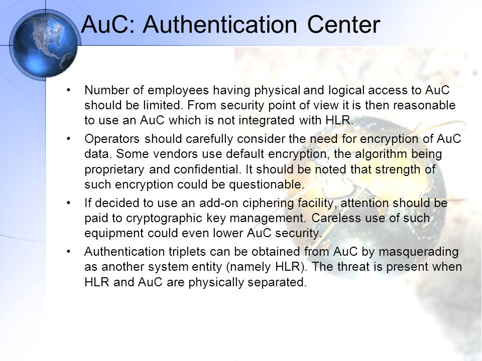 AuC: Authentication Center