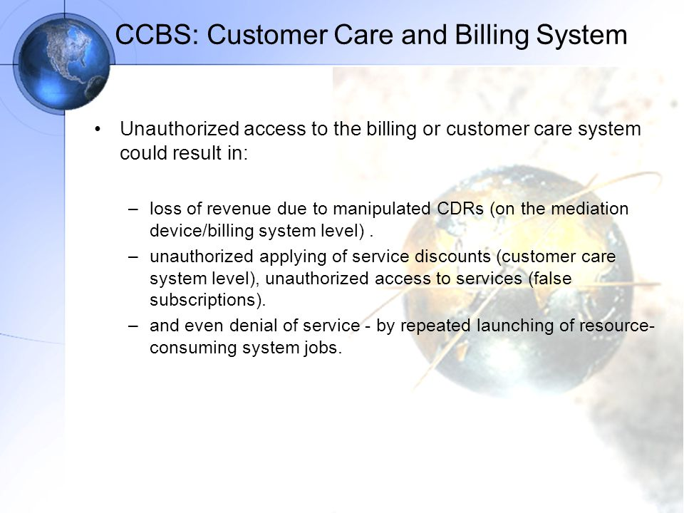 CCBS: Customer Care and Billing System
