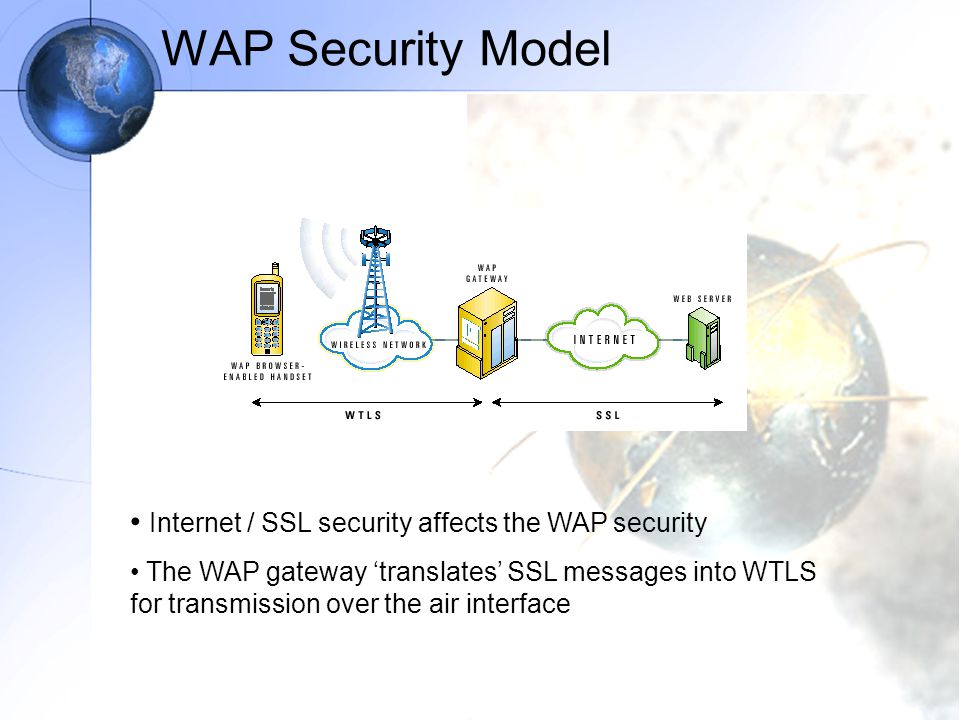 WAP Security Model Internet / SSL security affects the WAP security