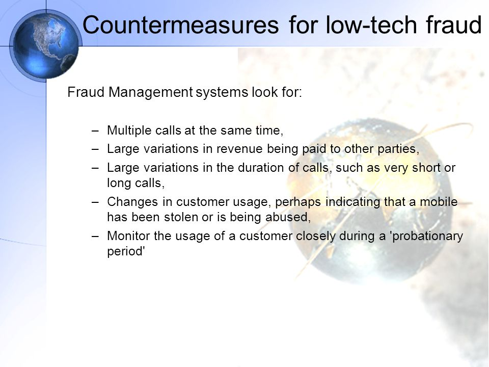 Countermeasures for low-tech fraud