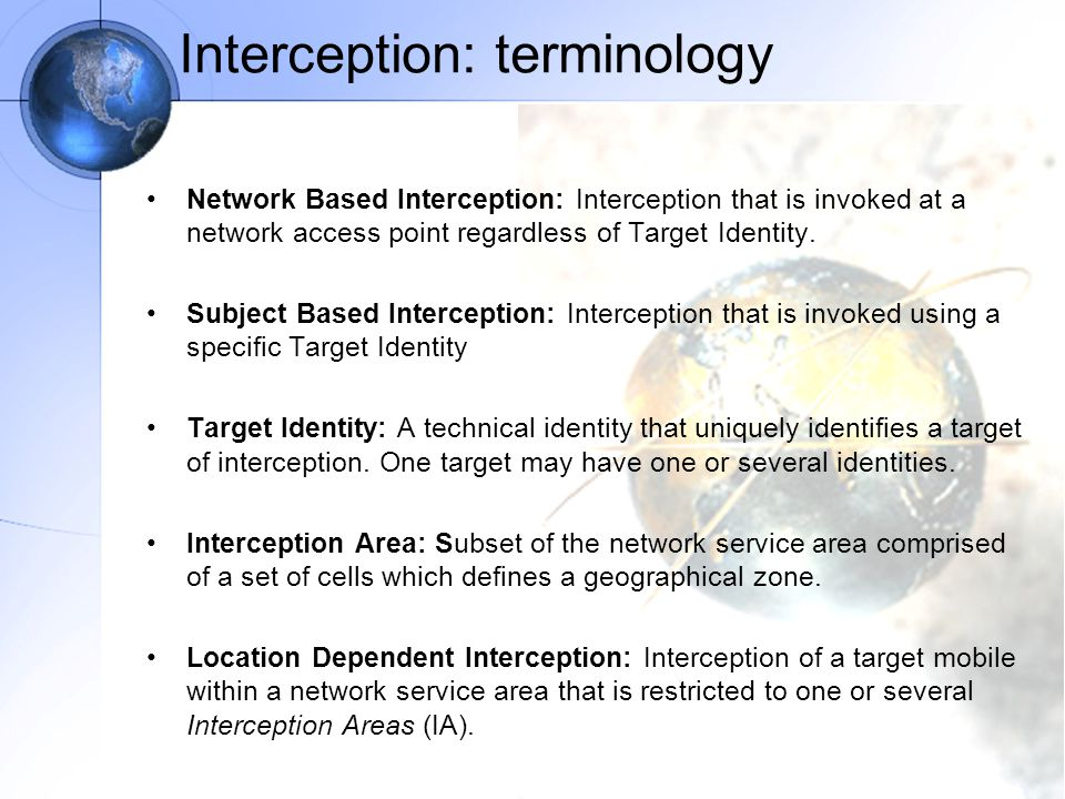 Interception: terminology