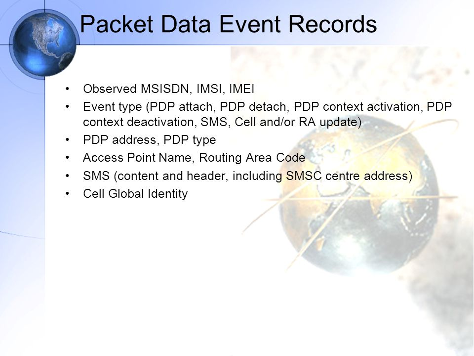 Packet Data Event Records
