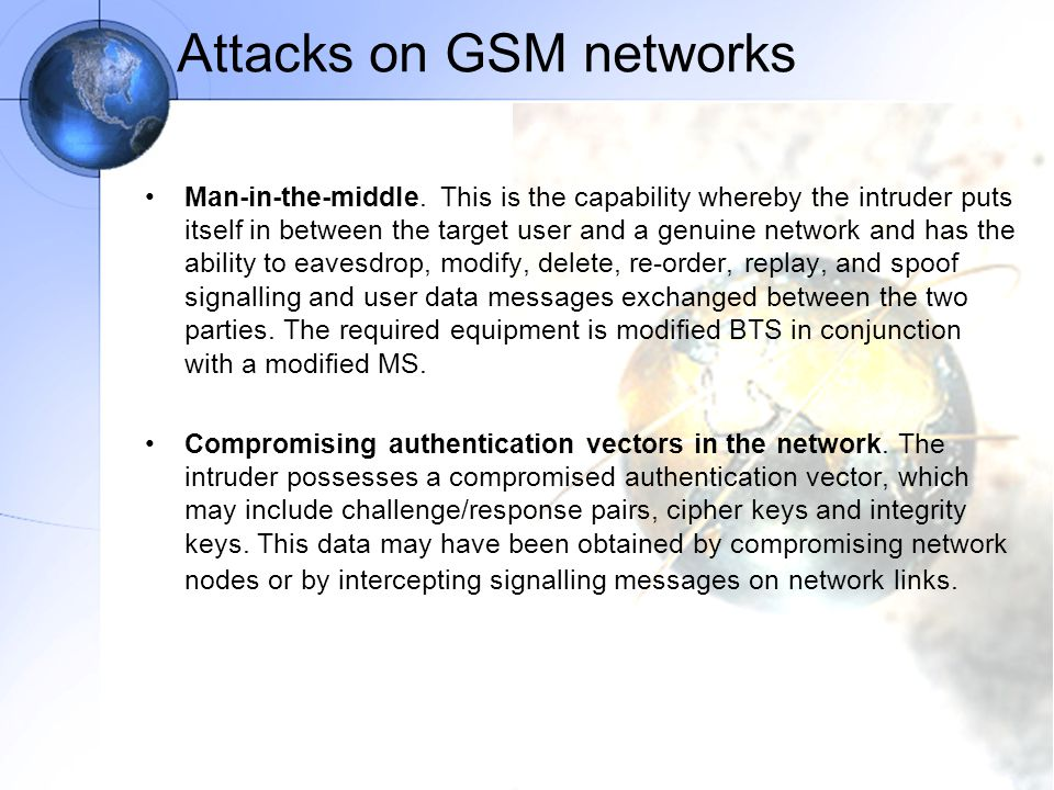 Attacks on GSM networks