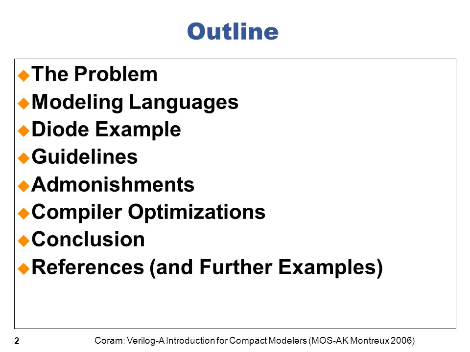 Outline The Problem Modeling Languages Diode Example Guidelines