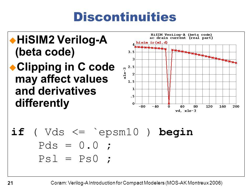 Discontinuities HiSIM2 Verilog-A (beta code)