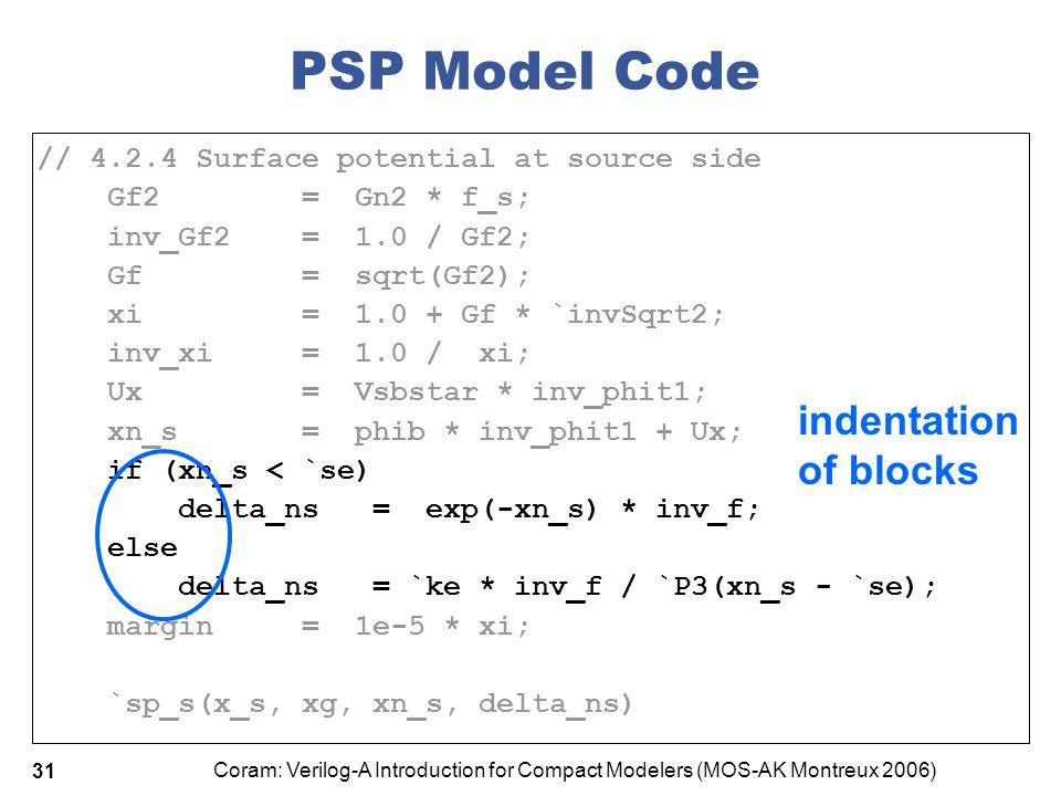 PSP Model Code indentation of blocks