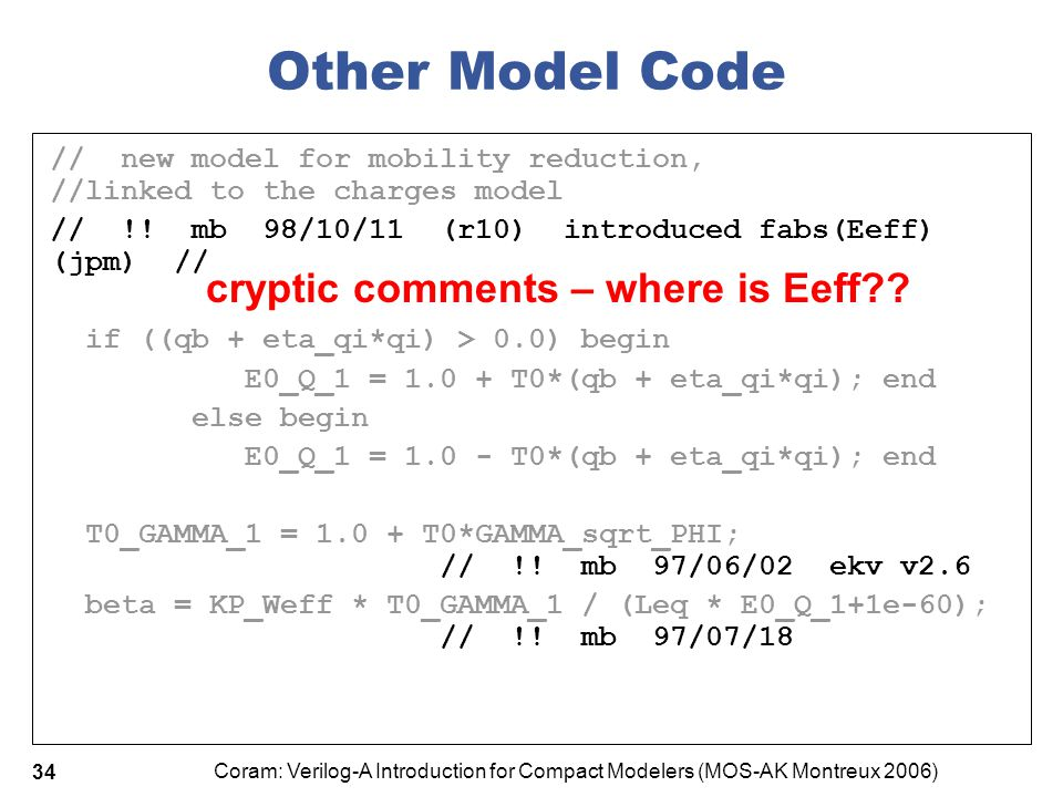 Other Model Code cryptic comments – where is Eeff