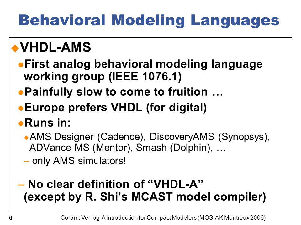 Behavioral Modeling Languages