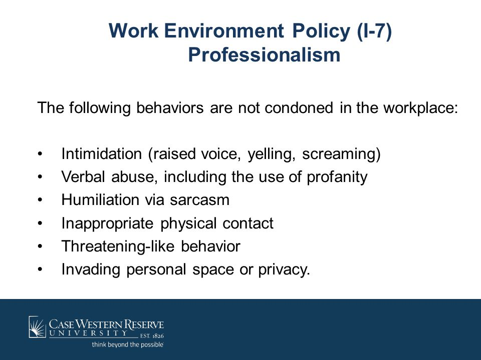 Work Environment Policy (I-7) Professionalism
