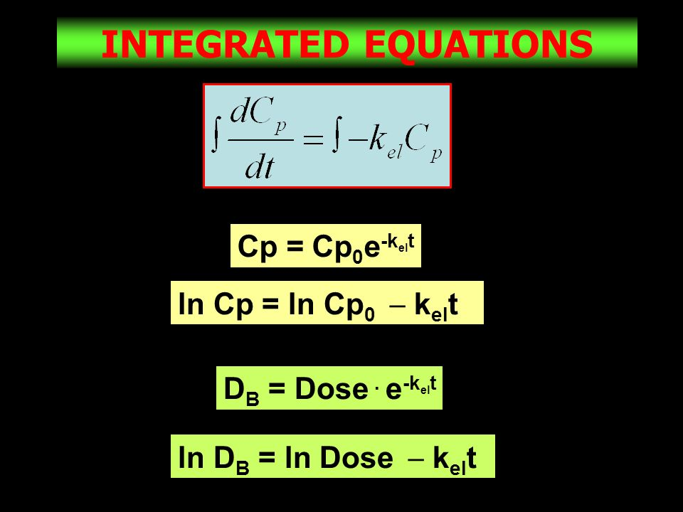 INTEGRATED EQUATIONS Cp = Cp0e-kelt ln Cp = ln Cp0  kelt