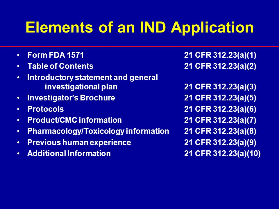 Elements of an IND Application