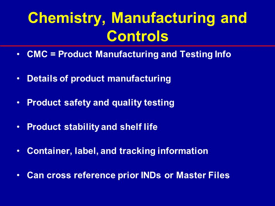 Chemistry, Manufacturing and Controls