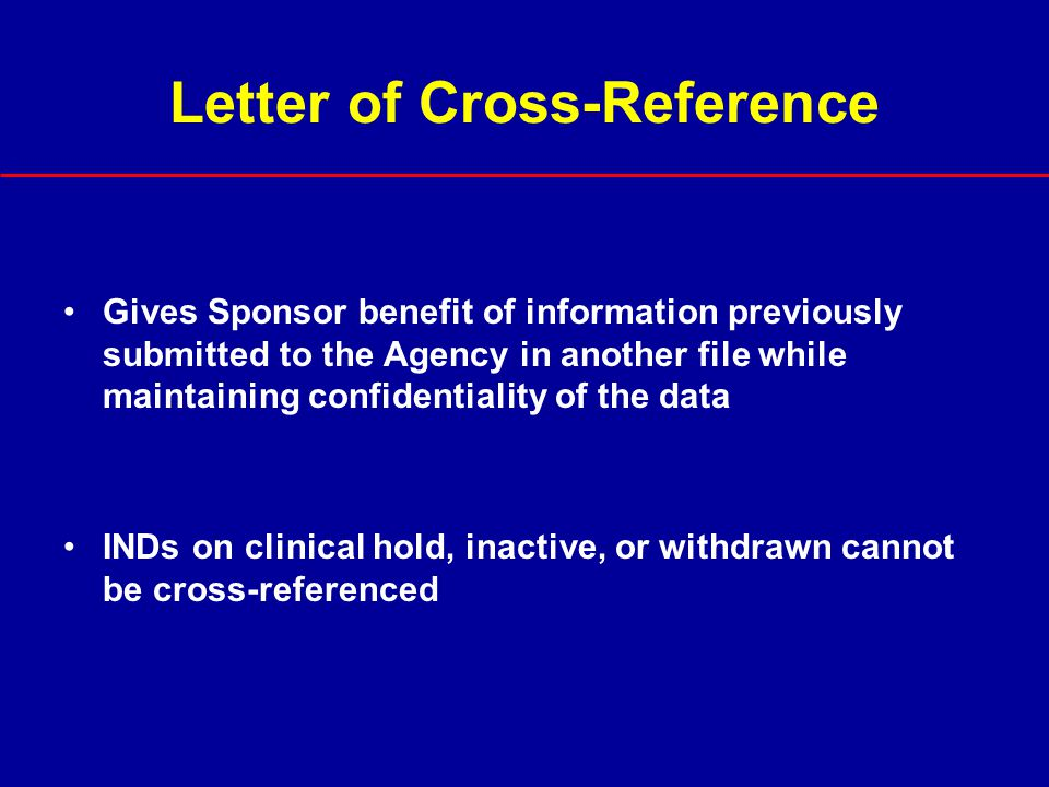 Letter of Cross-Reference