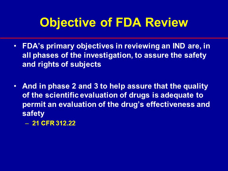 Objective of FDA Review
