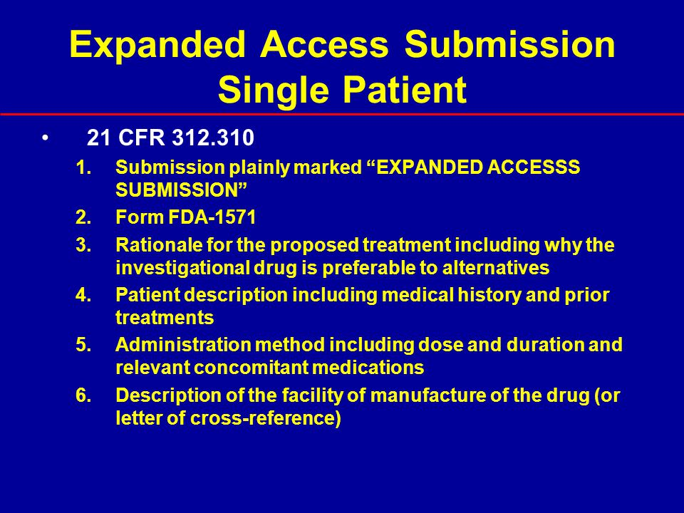 Expanded Access Submission Single Patient