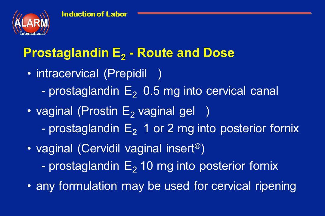 Prostaglandin E2 - Route and Dose