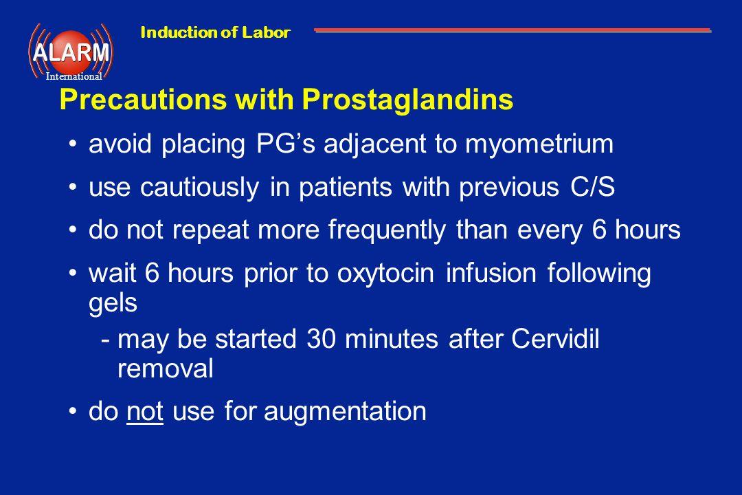 Precautions with Prostaglandins
