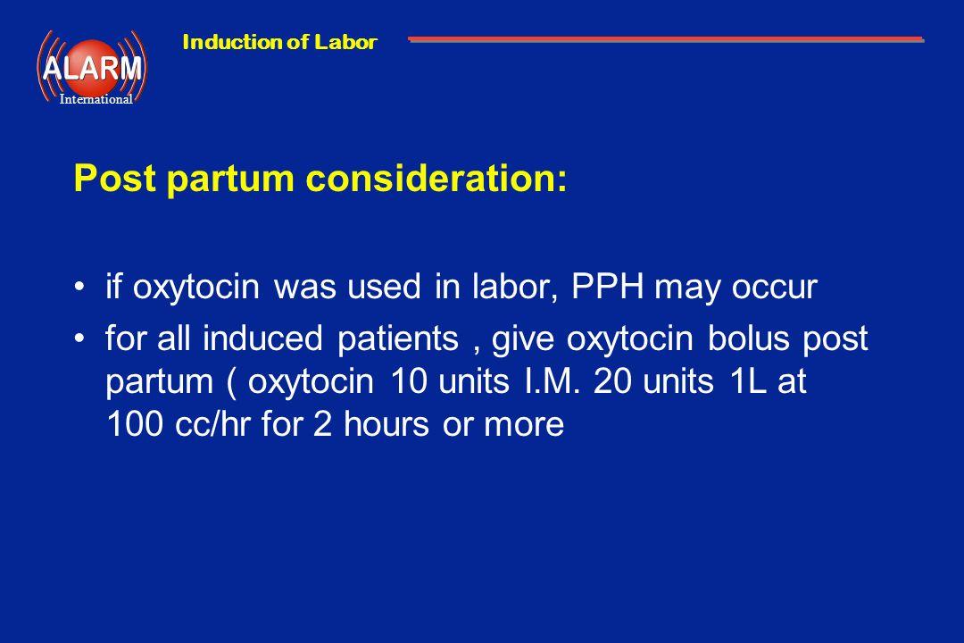 Post partum consideration: