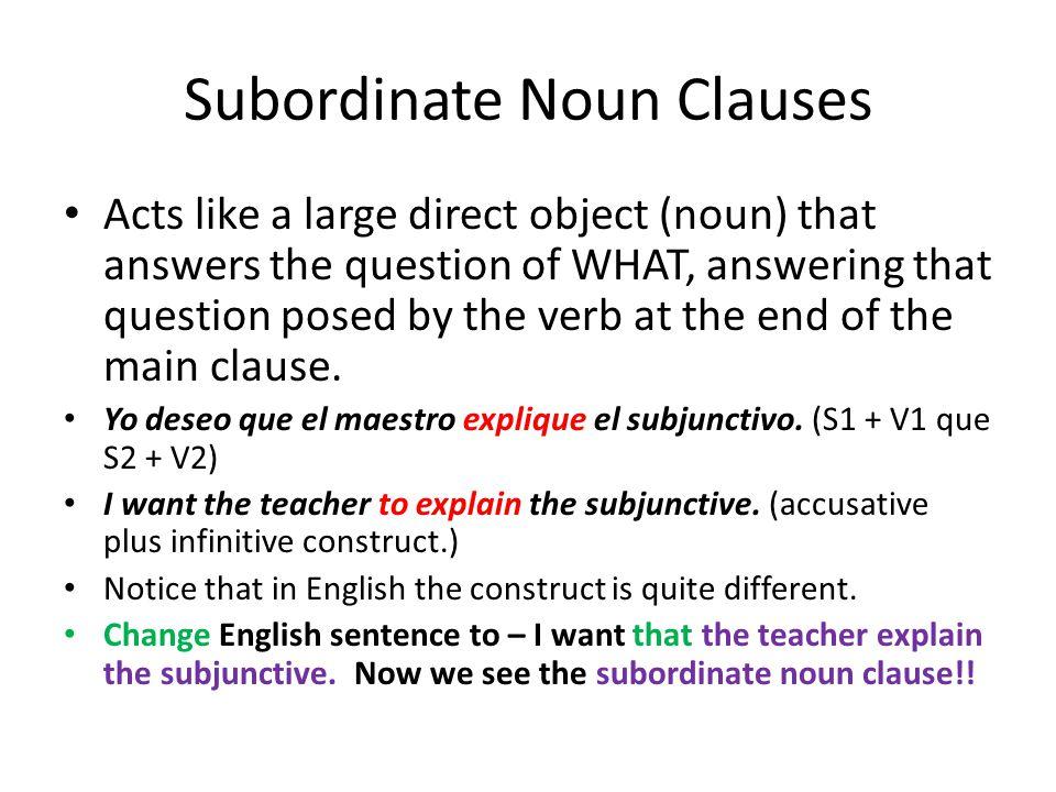 Subordinate Noun Clauses