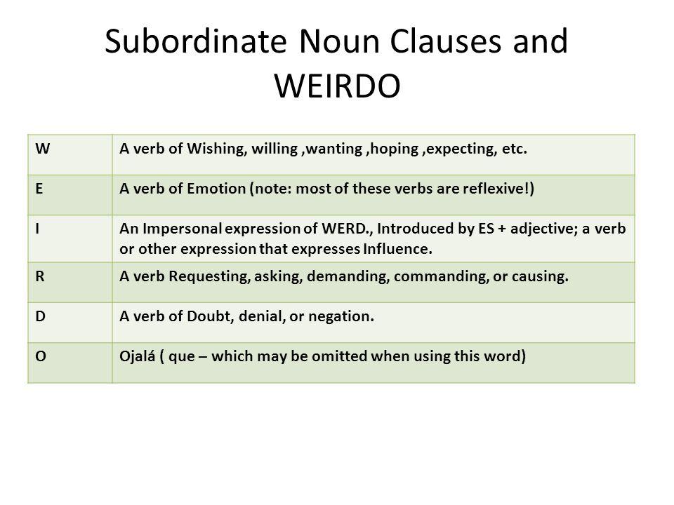 Subordinate Noun Clauses and WEIRDO