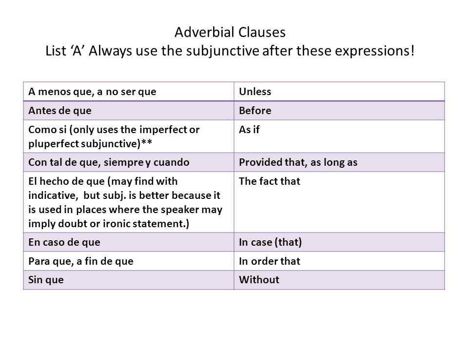 Adverbial Clauses List 'A' Always use the subjunctive after these expressions!