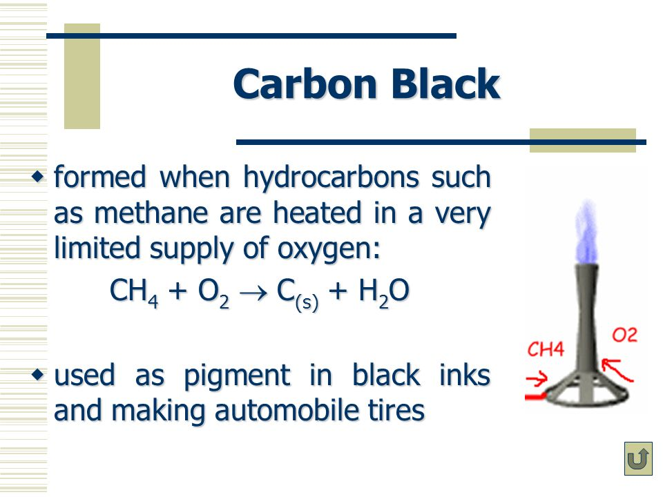 Carbon Black formed when hydrocarbons such as methane are heated in a very limited supply of oxygen: