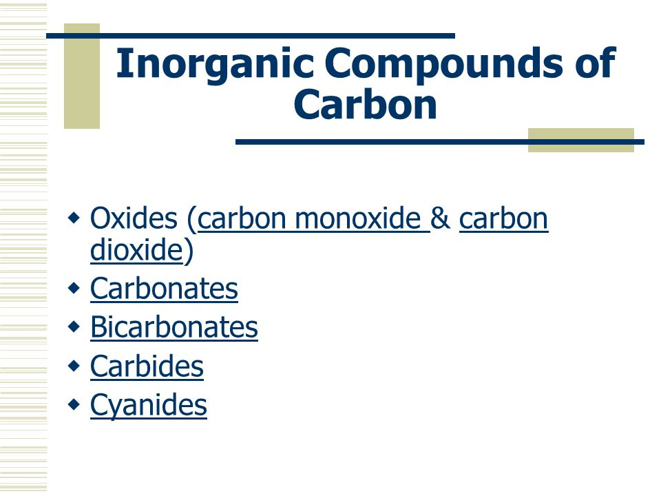 Inorganic Compounds of Carbon