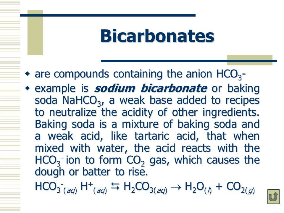 Bicarbonates are compounds containing the anion HCO3-