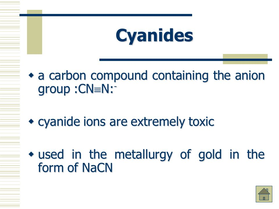 Cyanides a carbon compound containing the anion group :CNN:-