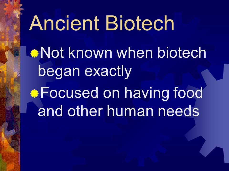 Ancient Biotech Not known when biotech began exactly