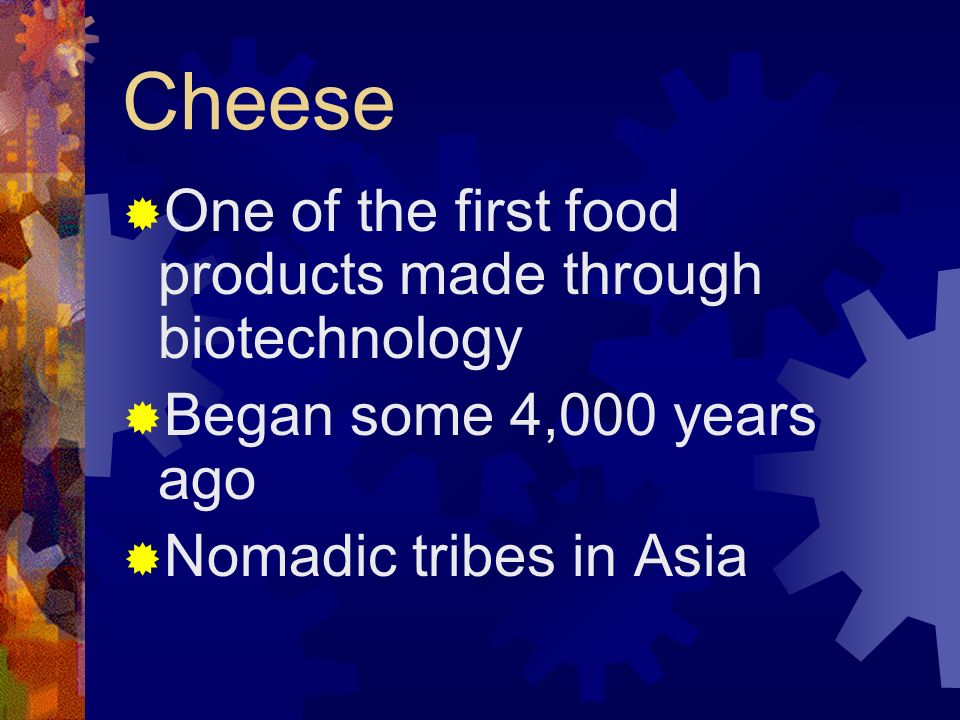 Cheese One of the first food products made through biotechnology