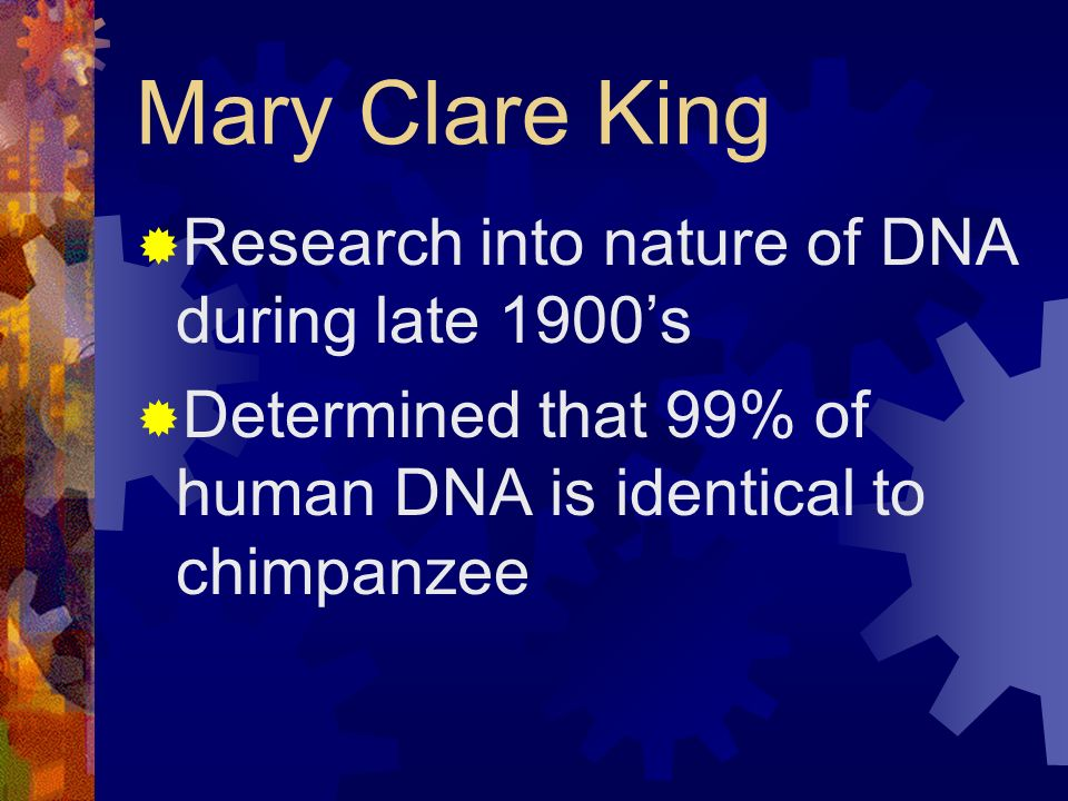 Mary Clare King Research into nature of DNA during late 1900's
