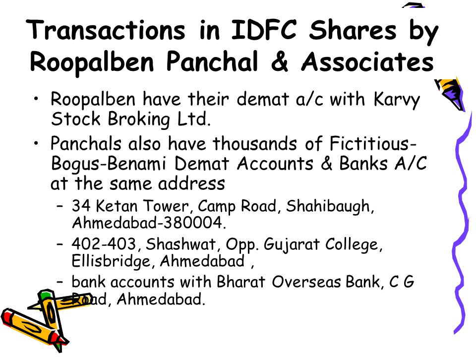 Transactions in IDFC Shares by Roopalben Panchal & Associates