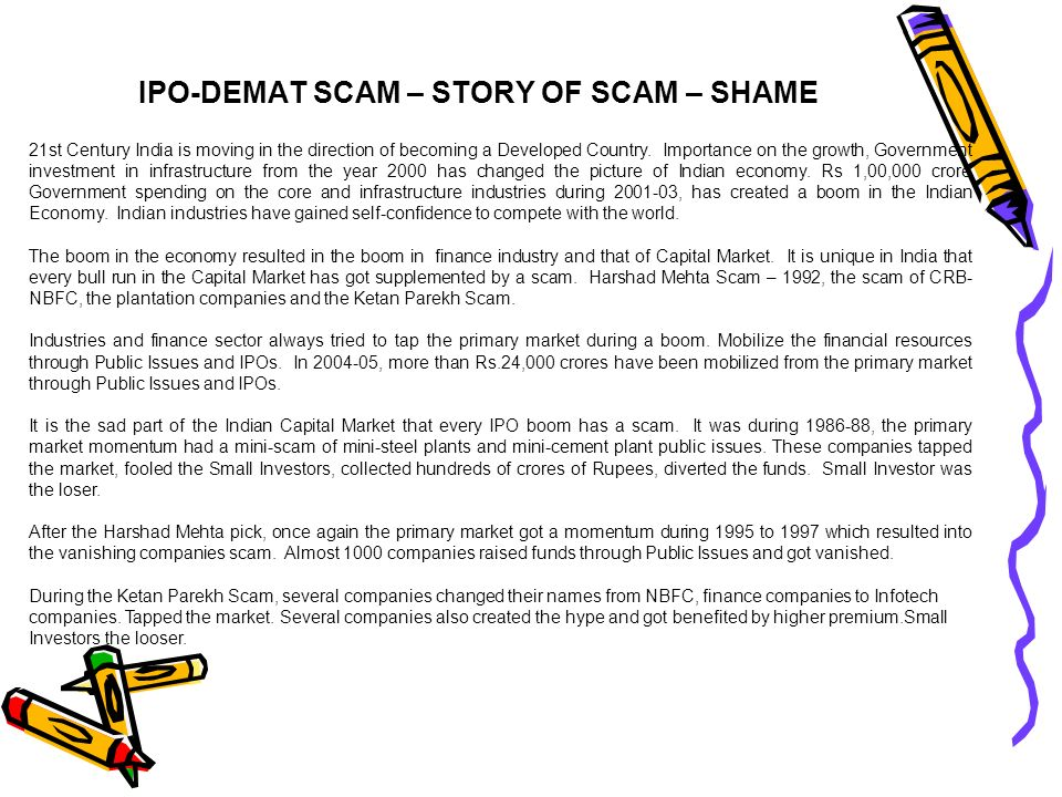 IPO-DEMAT SCAM – STORY OF SCAM – SHAME