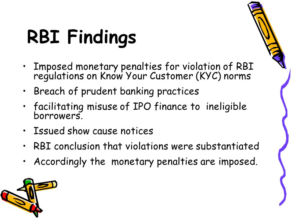 RBI Findings Imposed monetary penalties for violation of RBI regulations on Know Your Customer (KYC) norms.