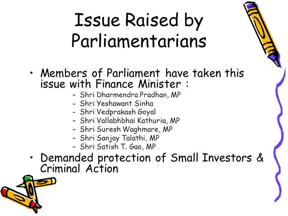 Issue Raised by Parliamentarians