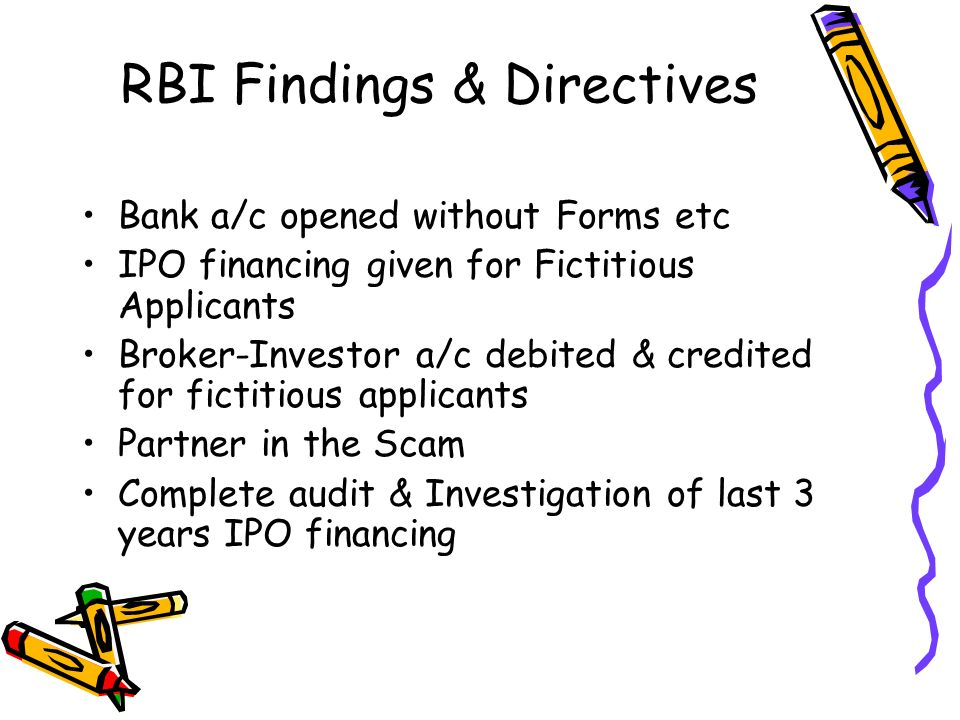 RBI Findings & Directives