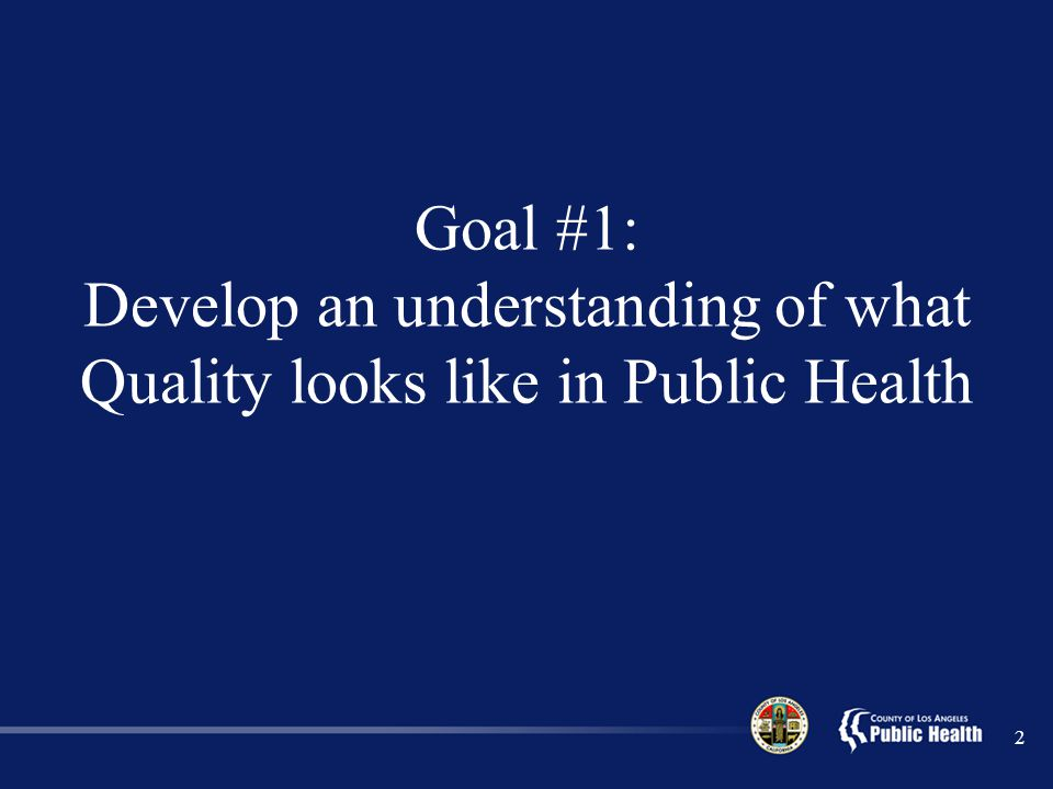 Goal #1: Develop an understanding of what Quality looks like in Public Health
