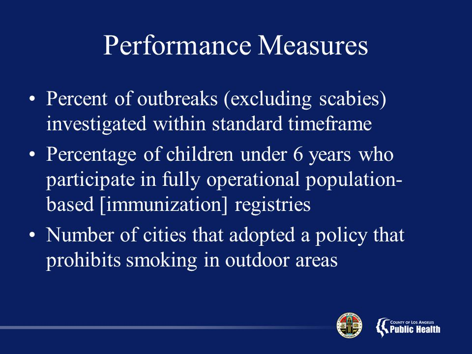 Performance Measures Percent of outbreaks (excluding scabies) investigated within standard timeframe.
