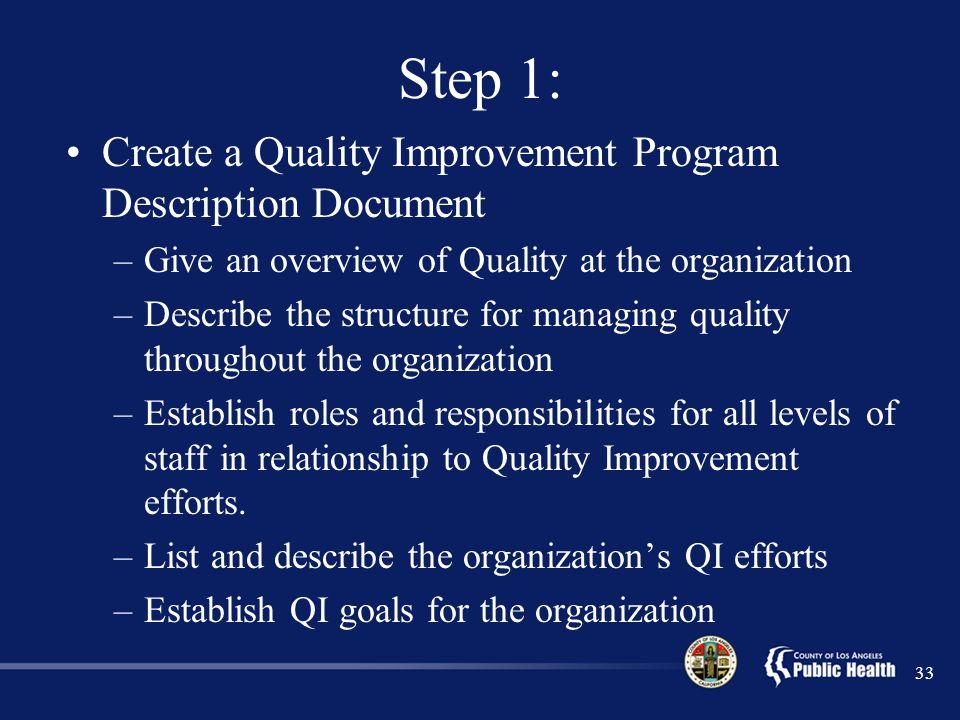Step 1: Create a Quality Improvement Program Description Document