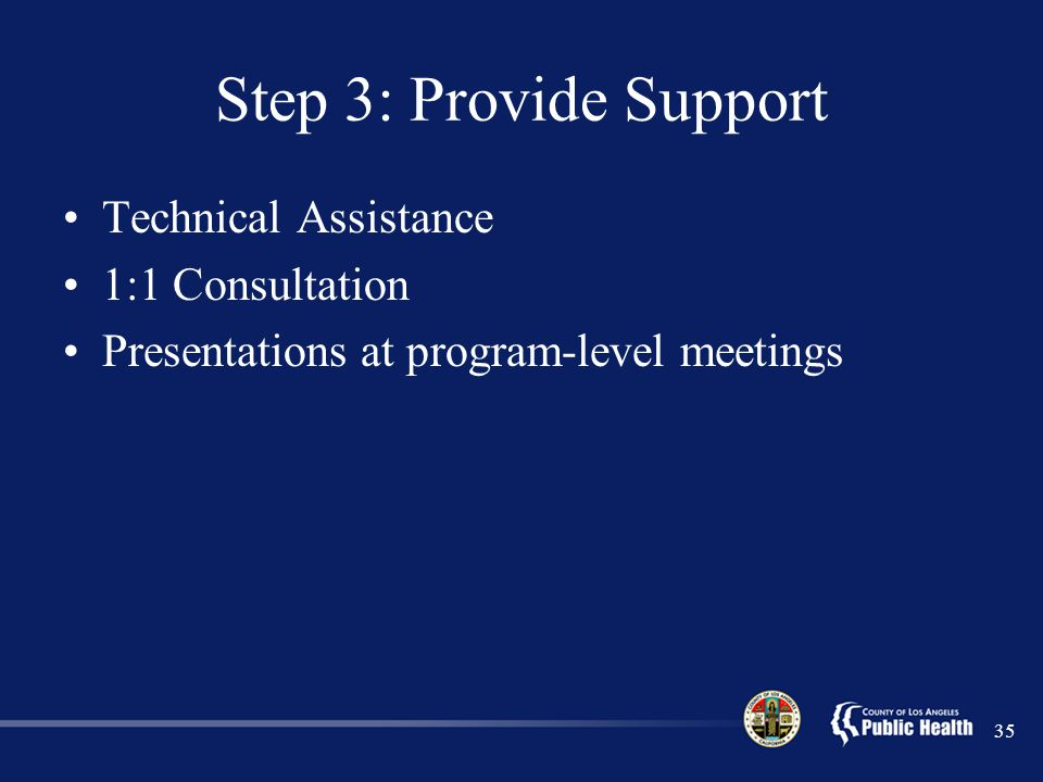 Step 3: Provide Support Technical Assistance 1:1 Consultation