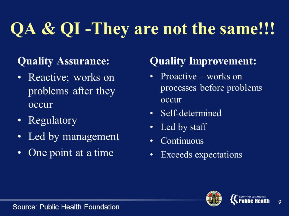 QA & QI -They are not the same!!!