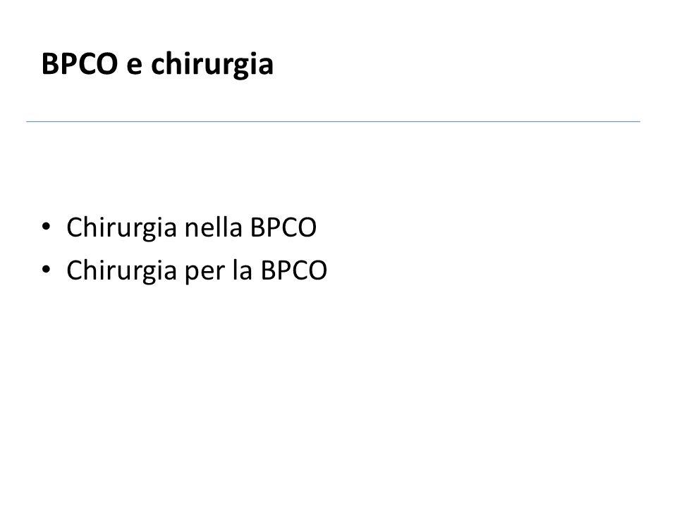 BPCO e chirurgia Chirurgia nella BPCO Chirurgia per la BPCO